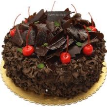 圆形黑森林蛋糕,黑色巧克力屑铺面,水果点缀