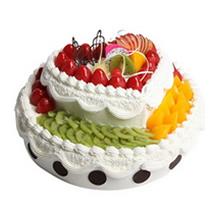 14寸圆形+10寸心形双层水果蛋糕图片
