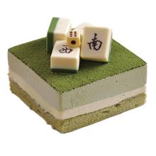 方形麻将抹茶慕斯蛋糕图片