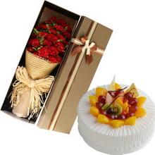 22朵红色康乃馨,黄莺点缀;圆形鲜奶水果蛋糕,水果围圈铺面,鲜奶丝搭配