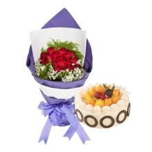 19枝红玫瑰+圆形水果蛋糕图片