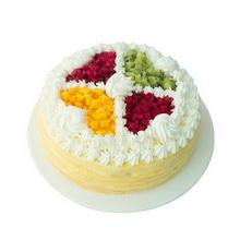 圆形芒果千层蛋糕图片