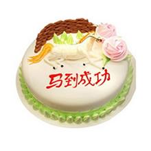 圆形生肖鲜奶蛋糕,鲜奶裱花装饰,生肖马造型