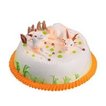 圆形生肖鲜奶蛋糕图片