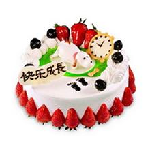 圆形生肖水果蛋糕,水果、鲜奶球搭配围边,中间生肖狗造型,底部草莓(以时令水果为准)围边