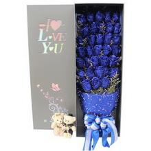 33朵蓝玫瑰,2个情侣小熊图片