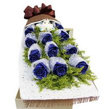 11朵蓝玫瑰(单个包装),1个小熊图片