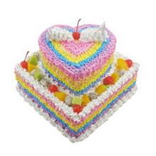 12寸方形+8寸心形双层彩虹蛋糕图片