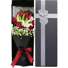 11朵红玫瑰,2枝多头白百合,长形礼盒图片