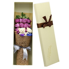 紫玫瑰,2个情侣小熊,长形礼盒图片