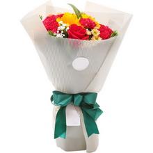 3朵向日葵,3枝红玫,12朵红康图片