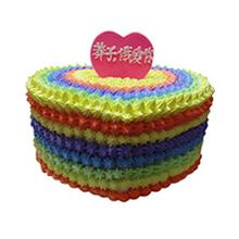 心形彩虹蛋糕图片