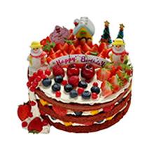 圆形红丝绒裸蛋糕,红丝绒蛋糕胚,双层水果夹层,多种新鲜时令水果铺面,卡通人物装饰(以店里为准)