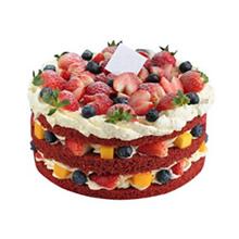圆形红丝绒裸蛋糕,红丝绒蛋糕胚,双层水果夹层,新鲜时令水果铺面