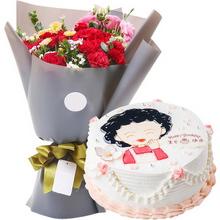 11朵红康,6朵红玫瑰,雏菊、桔梗间插;圆形鲜奶蛋糕,鲜奶裱花,妈妈图案