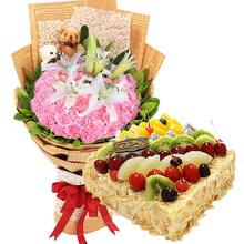36朵粉康 3支百合 +方形水果蛋糕图片