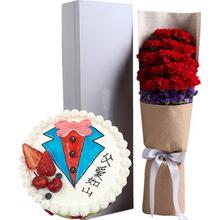 19朵红康 礼盒+圆形水果蛋糕图片