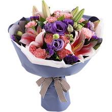 粉色康乃馨12枝,粉色香水百合2枝图片