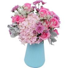 苏醒13枝,粉绣球1枝,花瓶款图片