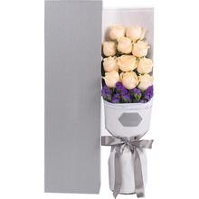 香槟玫瑰11枝、深紫色勿忘我0.3扎