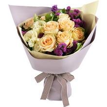 香槟玫瑰9枝,香槟色桔梗2枝图片