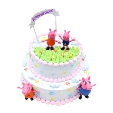 8寸+12寸双层鲜奶蛋糕,卡通装饰