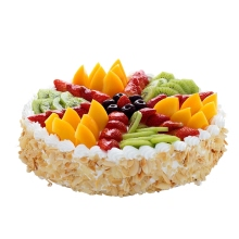 圆形水果蛋糕,各种时令水果如图拼盘,杏仁片围边