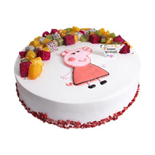圆形小猪佩奇水果蛋糕,各色时令水果装饰,小猪佩奇卡通手绘图案