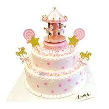 双层圆形鲜奶蛋糕图片