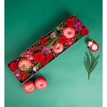 9支红玫瑰+3个苹果、配花丰满长方形礼盒花