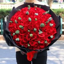99枝精品紅玫瑰,尤加利葉間插點綴