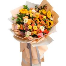 6朵向日葵,11朵香槟玫瑰,11朵橙色的扶郎花,6朵粉色康乃馨图片
