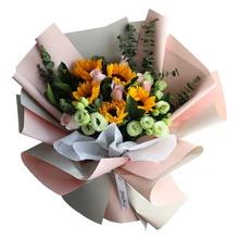 5朵向日葵,6枝戴安娜玫瑰图片