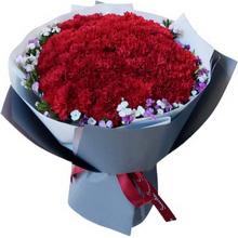 33朵红色康乃馨花束图片