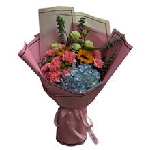 11朵康乃馨,1朵绣球花,2朵向日葵花束图片