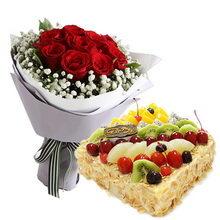 11支红玫瑰+方形水果蛋糕图片