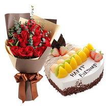 19朵红玫瑰花束+心形水果蛋糕