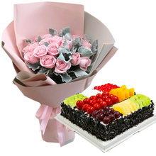 19朵粉佳人玫瑰+方形水果蛋糕图片