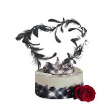 羽毛、皇冠圆形水果蛋糕图片