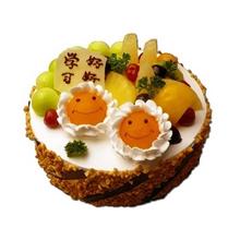 圆形水果蛋糕,多种水果铺面,笑脸水果造型