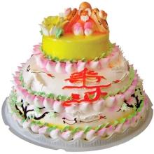 三层圆形祝寿鲜奶蛋糕图片