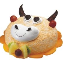 圆形牛牛形状卡通水果蛋糕图片