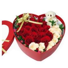 香槟玫瑰8枝 红玫19枝 心形礼盒图片