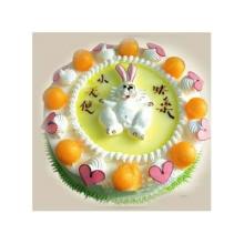 圆形水果蛋糕,生肖兔子图片