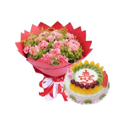 19枝粉康+圆形祝寿水果蛋糕蛋糕图片