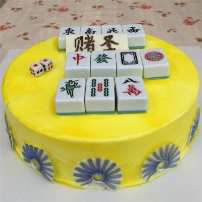 圆形麻将蛋糕图片