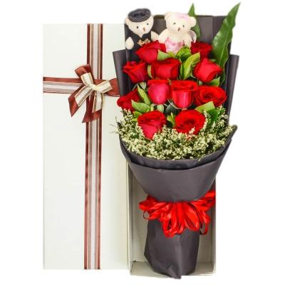 红玫瑰 2个情侣小熊 长方形礼盒图片
