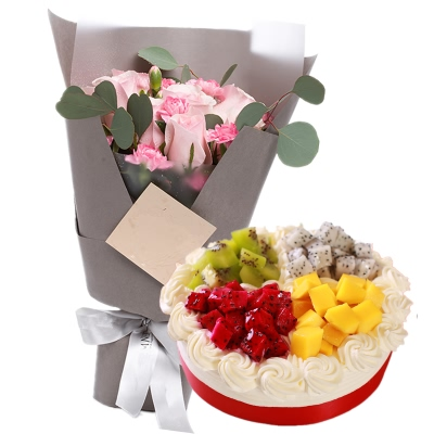 11朵粉玫瑰+圆形水果蛋糕图片