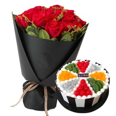 19朵红玫瑰+圆形水果蛋糕图片