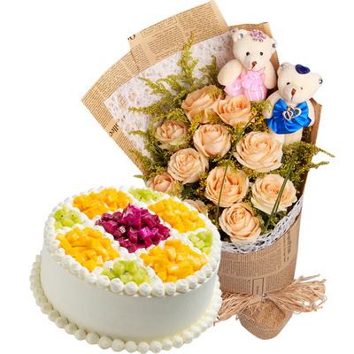 11朵香槟玫瑰 2个情侣小熊+圆形水果蛋糕图片